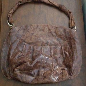 ZINA EVA glossy leather shoulder bag